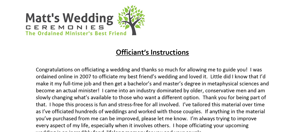 Ceremony Material - Matt\'s Wedding Ceremonies